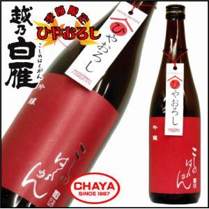 越乃白雁 吟醸 越淡麗 ひやおろし 720ml 新潟 日本酒 地酒 季節 限定 中川酒造|takabatake-sake