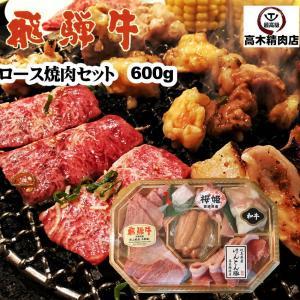 飛騨牛 ロースのバーベキューセット 600g 飛騨牛 豚 鶏 ホルモン ウィンナー 2〜3人前|takagiseiniku