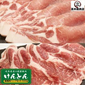 国産豚肉 焼肉セット 豚ロース 肩ロース (500g) おいしい岐阜県産の豚肉 「けんとん豚」 バーベキュー BBQ 焼肉 スライス|takagiseiniku
