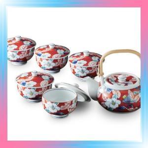 有田焼 総手描き 色彩山茶花 番茶器揃 土瓶1個 蓋付き煎茶5客セ|takahashi-shopping