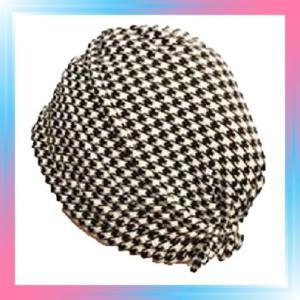 おしゃれヘアキャップ|女神の帽子|19 002千鳥格子 さらさらしっとり|takahashi-shopping
