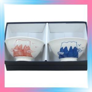 藍花 飯碗 ギフトセット 富士山 90925|takahashi-shopping