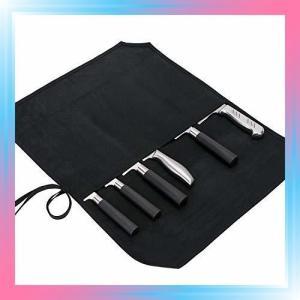 ブラック1 QEES 巻き包丁ケース 収納 バッグ 巻タイプ 携帯 便利|takahashi-shopping
