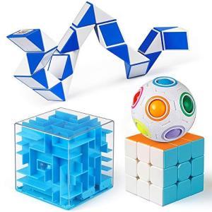 D-FantiX 4個 頭の体操 パズルのおもちゃ、 3x3スピードキューブ、レインボーパズルボール...
