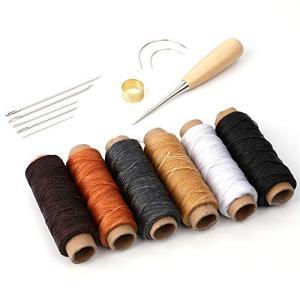 【15点セット内容】革製のワックス糸コード6、革用の縫い針7、ストレートヘッド千枚通し、シンブル(指...