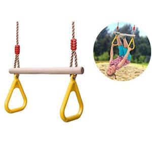 COMINGFIT〓 160kgまで荷重 子供遊び 体操吊り輪 ブランコ 木製 どこでも ブランコ
