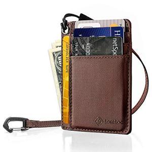 tomtoc カードケース 7枚カード入れ 薄型 キャッシュ収納 カードホルダー、 ダークブラウン