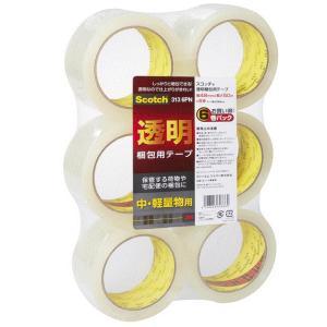 住友スリーエム 3M(スリーエム) スコッチ 透明梱包用テープ 中・軽量物用 48mm×50m 6巻パック 313 6PN|takahashihonsha