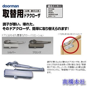 【ポイント15倍】 リョービ S-202P ドアマン 取替用 ドアクローザー 【簡単交換】|takahashihonsha