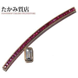 ミキモト K18YG ルビー/ダイヤ約1.0ct ブローチ|takami710