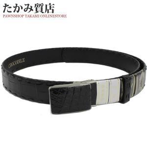 長尺ベルト 艶ありクロコダイル(黒) 肚ワニ 裏牛革 手編み メンズ|takami710