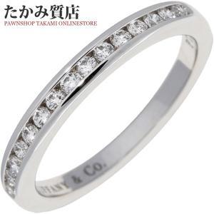 ティファニー Pt950 ダイヤ15P(0.15ct) ハーフサークル チャネルセッティングリング(幅2ミリ) 指輪(リング) 6.5号|takami710