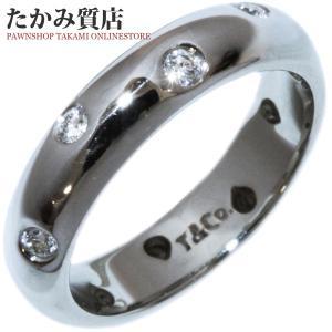 ティファニー Pt950 ダイヤ0.22ct ドッツバンドリング 指輪(リング) 7.5号|takami710