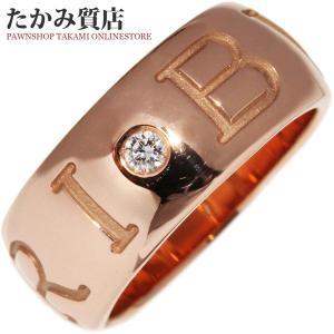 ブルガリ K18PG ダイヤ1P モノロゴリング 指輪(リング)(AN855440) #49(8号) takami710