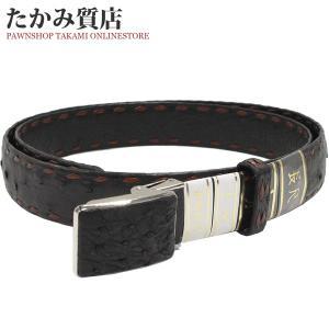 長尺ベルト オーストリッチ 黒・ブラウン SS(ステンレス)バックル メンズ|takami710