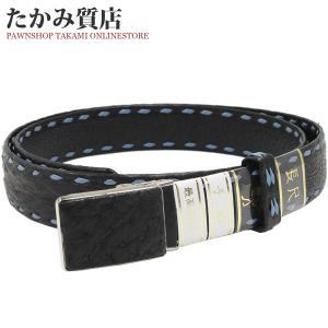 長尺ベルト オーストリッチ 黒・水色 SS(ステンレス)バックル メンズ|takami710