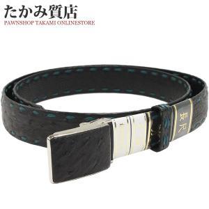 長尺ベルト オーストリッチ 黒・緑 SS(ステンレス)バックル メンズ|takami710