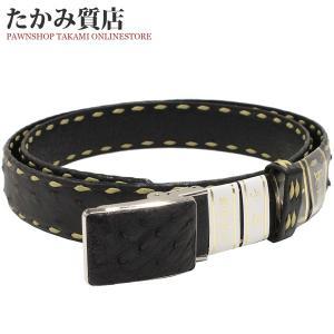 長尺ベルト オーストリッチ 黒・黄 SS(ステンレス)バックル メンズ|takami710