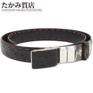 長尺ベルト オーストリッチ(黒・エンジ) マット加工 メンズ|takami710