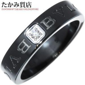 ブルガリ K18WG/ブラックセラミック ダイヤ1P ブルガリブルガリ ダブルロゴリング 指輪(リング)(AN857211) 11.5号 takami710