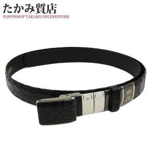 長尺ベルト クロコダイル マット加工 黒 メンズ|takami710