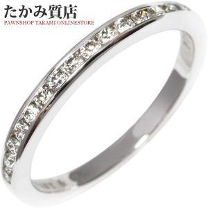ティファニー Pt950 ダイヤ15P(0.15ct) ハーフサークルチャネルセッティングバンドリング(幅2ミリ) 指輪(リング) 6.5号|takami710