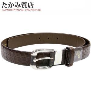 ベルト クロコダイル マット加工 ブラウン 玉符 ピンバックル メンズ|takami710