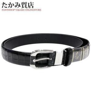 長尺ベルト クロコダイル マット加工 黒 ピンバックル メンズ|takami710