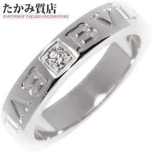 ブルガリ K18WG ダイヤ1P ブルガリブルガリ ダブルロゴリング 指輪(リング)(AN853348) 9.5号 takami710