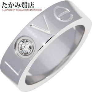 カルティエ 2006年クリスマス限定 K18WG ダイヤ1P ラブリング 指輪(リング)(B40723) #48(8号) 限定品