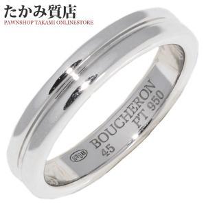 ブシュロン 指輪 リング Pt950 ゴドロンリング 幅3ミリ #45 5号
