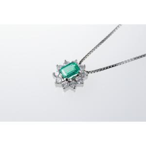 ネックレス 天然エメラルド 天然ダイヤモンド UF16044|takamoli