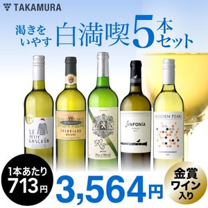 第88弾 1本驚きの713円!いつでもやっぱり白満喫!渇きをいやす5本 白ワインセット takamura
