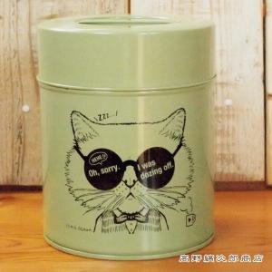 キャニスター缶 ネコ PlusEn×YUMIE OGAWA 02 グリーン 珈琲 200g用 CAT コーヒー 雑貨 保存容器 食器 E|takano-coffee