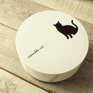 CAT お昼 お弁当箱 ラウンドランチボックス クロネコ 猫 雑貨 E|takano-coffee