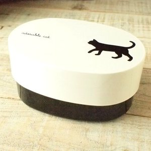 CAT お昼  お弁当箱 オーバルランチボックス クロネコ 猫 雑貨 E|takano-coffee