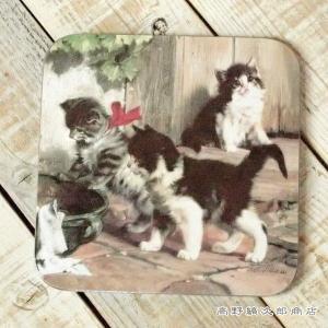 イタリアン鍋敷き 庭 ネコトリベット 猫 雑貨【レターパックプラス可】D|takano-coffee