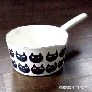 片手鍋 ミミココモモ ミルクパン15cm 猫 雑貨 食器 E|takano-coffee