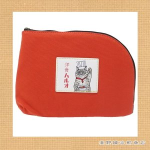 世にも不思議な猫世界 帆布ビッグスクエアポーチ 洋食ハルオ オレンジ 猫 雑貨【レターパックプラス可】【メール便可】B takano-coffee