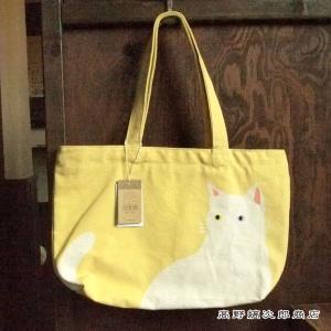 キャット トートバッグ ファスナーA4トート ホワイトキッャト 黄 イエロー cat 猫 雑貨【レターパックプラス可】D takano-coffee