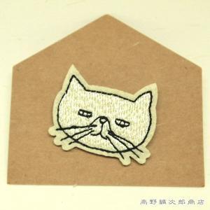 刺繍ブローチ TICKLE 猫 ホワイト  猫 雑貨 【レターパックプラス可】【メール便可】A takano-coffee