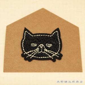 刺繍ブローチ TICKLE 猫 ブラック  猫 雑貨 【レターパックプラス可】【メール便可】A takano-coffee