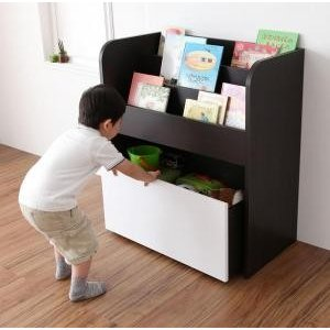 リビングキッズファニチャーシリーズ SMILE スマイル 絵本ラック おもちゃ箱付き takanonaisou
