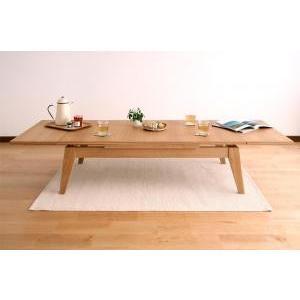 ワイドに広がる伸長式!天然木エクステンションリビングローテーブル Paodelo パオデロ W120-180|takanonaisou