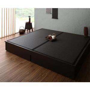 お客様組立 大型ベッドサイズの引出収納付き 選べる畳の和モダンデザイン小上がり 夢水花 ユメミハナ 美草畳 キング takanonaisou