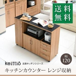 キッチンカウンター キッチンボード 120 幅 コンセント付き レンジ台 キッチン収納 食器棚 カウンター 引き出し 付き キャスター付き (jk) takanonaisou