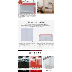 光沢のある 鏡面 仕上げ キッチンカウンター キッチンボード 幅 80 カウンター 引き出し 付き キャスター付き 高さ 90 収納 棚 ラック ガラス扉 (jk)|takanonaisou|05