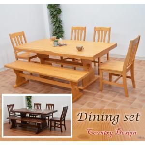 うずくりカントリーダイニングテーブルセット 6点 ナチュラル色 イス4 165ベンチ pet-368 北欧パイン 食卓161|takara21