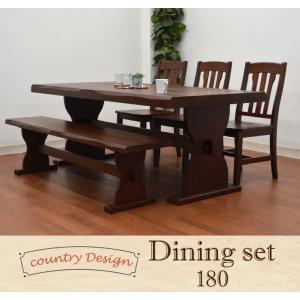 ダイニングテーブル5点セット カントリー 北欧 パイン  180cm ブラウン色 イス3 165ベンチ pet004-368 161|takara21