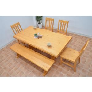うずくりカントリーダイニングテーブルセット 6点 ナチュラル色 イス4 165ベンチ pet-368 北欧パイン 食卓161|takara21|05